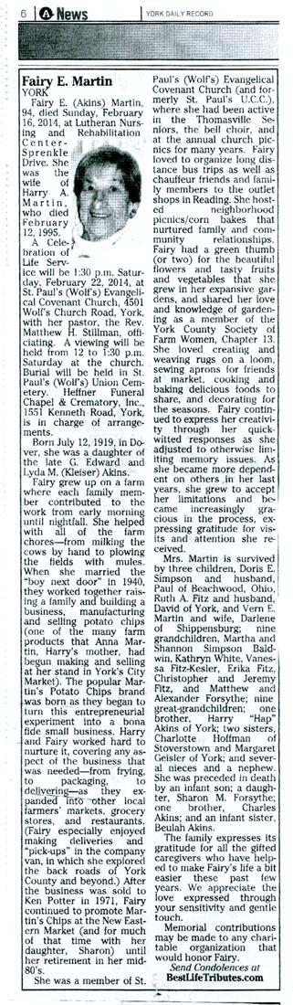 Fairy's Obituary